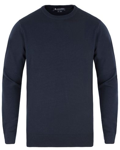 Aquascutum Fenton with Patch Elbows Crew Neck Knit Navy i gruppen Klær / Gensere / Pullover / Pullovere rund hals hos Care of Carl (13097811r)