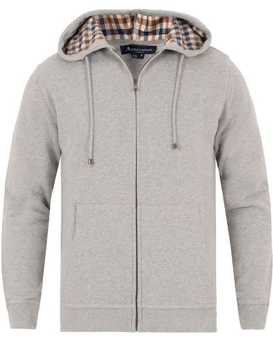 Aquascutum Luther Hooded Sweatshirt Light Grey i gruppen Gensere / Hettegensere hos Care of Carl (13097911r)