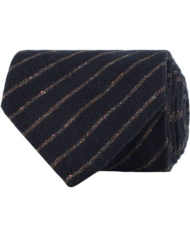 Amanda Christensen Wool Donegal Stripe 8cm Tie Navy  i gruppen Accessoarer / Slipsar hos Care of Carl (13103210)