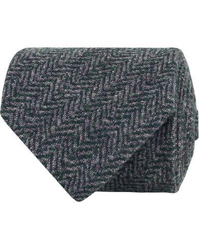 Amanda Christensen Wool/Silk/Cashmere Herringbone 7,5cm Tie Navy i gruppen Assesoarer / Slips hos Care of Carl (13103310)