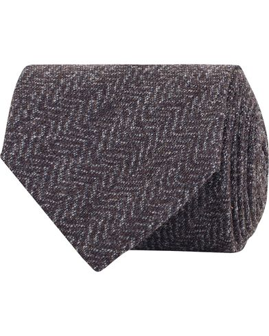 Amanda Christensen Wool/Silk/Cashmere Herringbone 7,5cm Tie Brown i gruppen Assesoarer / Slips hos Care of Carl (13103410)