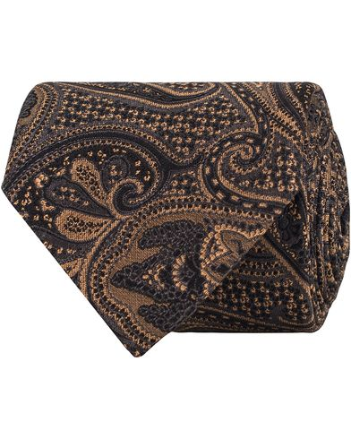 Amanda Christensen Silk/Wool Paisley 8cm Tie Black i gruppen Accessoarer / Slipsar hos Care of Carl (13104210)