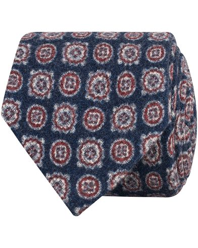 Amanda Christensen Wool/Silk Flannel Medallion 8cm Tie Blue i gruppen Assesoarer / Slips hos Care of Carl (13104310)