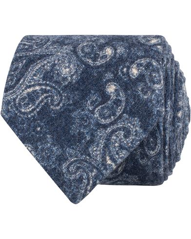 Amanda Christensen Wool/Silk Flannel Paisley 8cm Tie Navy  i gruppen Assesoarer / Slips hos Care of Carl (13104510)