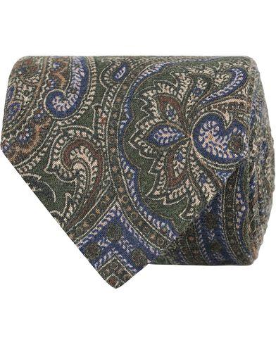 Amanda Christensen Wool Melange Printed Paisey 8cm Tie Green  i gruppen Assesoarer / Slips hos Care of Carl (13104610)