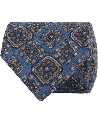 Amanda Christensen Wool Melange Medallion 8cm Tie Blue  i gruppen Accessoarer / Slipsar hos Care of Carl (13104710)
