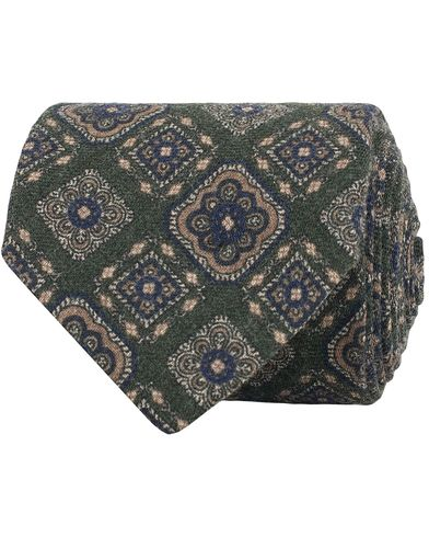 Amanda Christensen Wool Melange Medallion 8cm Tie Green  i gruppen Accessoarer / Slipsar hos Care of Carl (13104810)