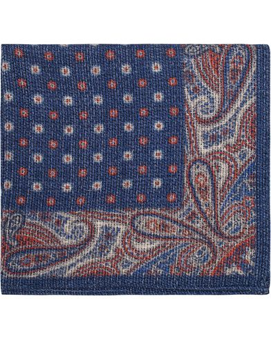 Amanda Christensen Wool Paisley Pocket Square Navy  i gruppen Accessoarer / Näsdukar hos Care of Carl (13105510)