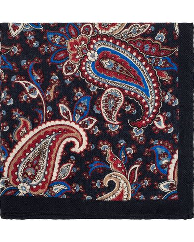 Amanda Christensen Wool Flannel Paisley Pocket Square Navy  i gruppen Accessoarer / Näsdukar hos Care of Carl (13105810)