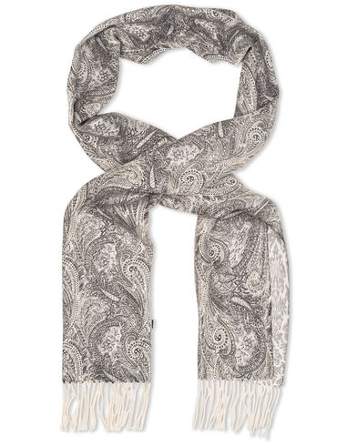 Amanda Christensen Winter Wool Double Faced Paisley Scarf Grey  i gruppen Accessoarer / Halsdukar hos Care of Carl (13107310)