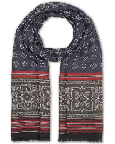 Amanda Christensen Wool/Polyamid Medallion Scarf Navy  i gruppen Accessoarer / Scarves hos Care of Carl (13108510)