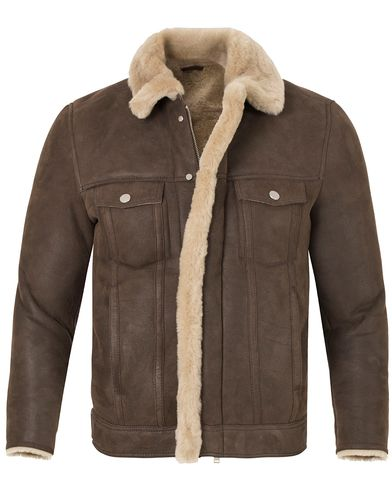 J.Lindeberg Redster Mud Shearling Suede Jacket Mud Brown i gruppen Jakker / Skinnjakker hos Care of Carl (13113611r)