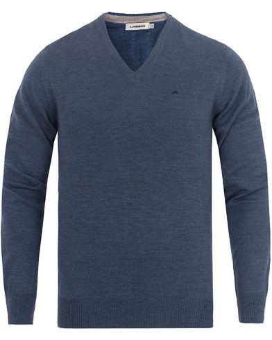 J.Lindeberg Lymann True Merino V-neck Pullover Light Blue Melange i gruppen Tröjor / Pullovers / V-ringade pullovers hos Care of Carl (13115611r)