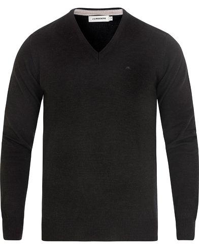 J.Lindeberg Lymann True Merino V-neck Pullover Dark Grey Melange i gruppen Kläder / Tröjor / Pullovers / V-ringade pullovers hos Care of Carl (13115811r)