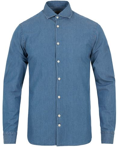 J.Lindeberg Daniel Washed Chambray Shirt Light Indigo i gruppen Kläder / Skjortor / Jeansskjortor hos Care of Carl (13118111r)