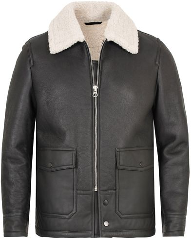 Gant Rugger The Shearling Aviator Jacket Black i gruppen Klær / Jakker / Skinnjakker hos Care of Carl (13121211r)