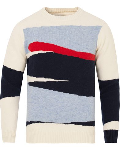 Gant Rugger Intarsia Block Jaquard Sweater Cream i gruppen Tröjor / Stickade tröjor hos Care of Carl (13123411r)