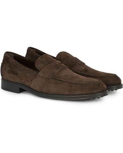 Tod's Mocassino Penny Loafer Dark Brown Suede i gruppen Skor / Loafers hos Care of Carl (13128611r)