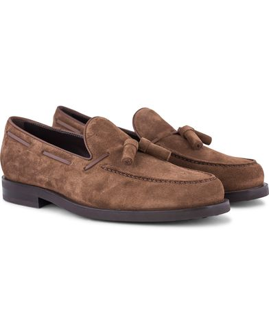 Tod's Pantofola Tassel Loafer Light Brown Suede i gruppen Skor / Loafers hos Care of Carl (13128711r)