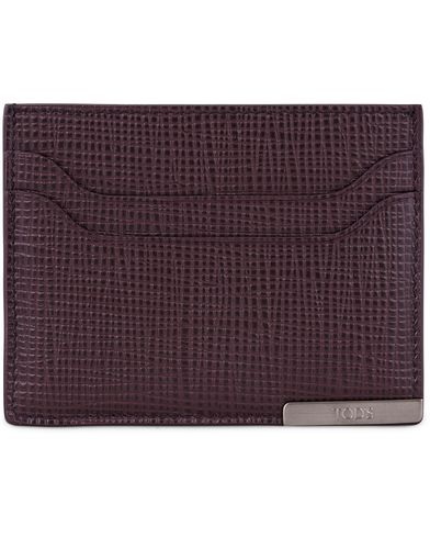 Tod's Barretta Metallo Credit Card Case Burgundy Leather  i gruppen Assesoarer / Lommebøker / Kortholdere hos Care of Carl (13130010)