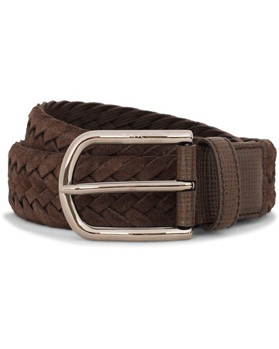 Tod's Intrecio Braided Suede 3,5 cm Belt Dark Brown i gruppen Assesoarer / Belter / Flettede belter hos Care of Carl (13130511r)