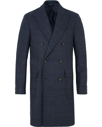 Hackett Double Face Check Wool Coat Navy i gruppen Klær / Jakker / Vinterjakker hos Care of Carl (13130811r)