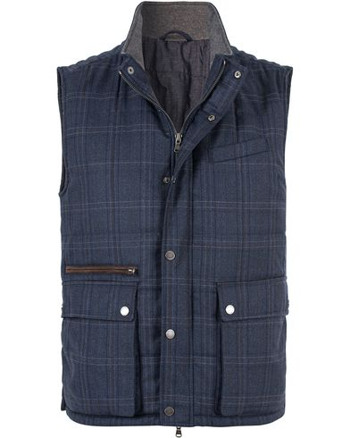 Hackett Patch Pock Wool Check Gilet Navy i gruppen Klær / Vester hos Care of Carl (13131011r)