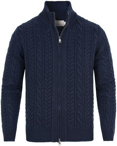 Hackett Cable Wool Full Zip Navy i gruppen Tr�jor / Zip-Tr�jor hos Care of Carl (13131211r)