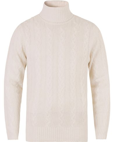 Hackett The Submariner Cable Roll Neck Ecru i gruppen Tröjor / Polotröjor hos Care of Carl (13131411r)