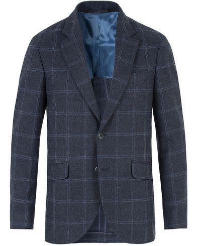 Hackett Oxford Windowpane Wool Blazer Navy i gruppen Kavajer / Enkelknäppta kavajer hos Care of Carl (13132311r)