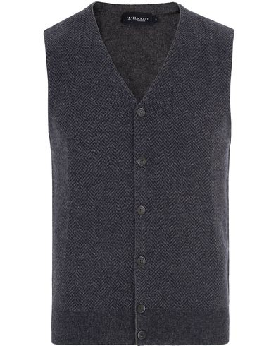 Hackett The Herringbone Wool Gilet Navy/Charcoal i gruppen Tröjor / Slipovers hos Care of Carl (13132511r)