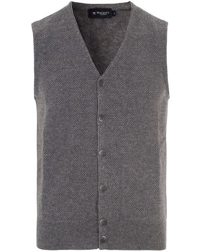 Hackett The Herringbone Wool Gilet Charcoal/Grey i gruppen Klær / Gensere / Slipover hos Care of Carl (13132611r)