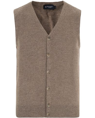 Hackett The Herringbone Wool Gilet Brown/Taupe i gruppen Gensere / Slipover hos Care of Carl (13132711r)