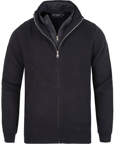 Hackett Full Double Zip Cardigan Navy i gruppen Tröjor / Zip-tröjor hos Care of Carl (13132811r)