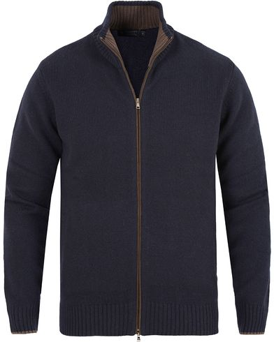Hackett Merino/Cashmere Full Zip Navy i gruppen Gensere / Zip-gensere hos Care of Carl (13132911r)