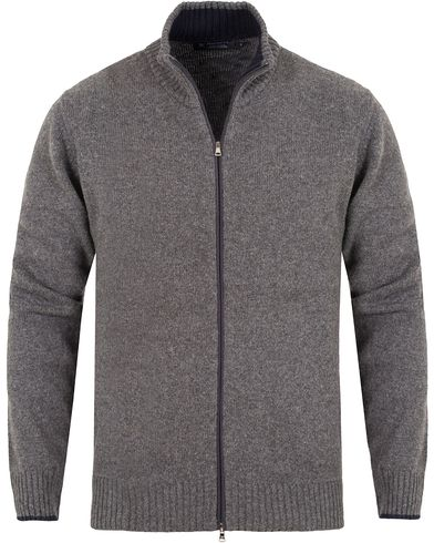Hackett Merino/Cashmere Full Zip Grey i gruppen Gensere / Zip-gensere hos Care of Carl (13133011r)