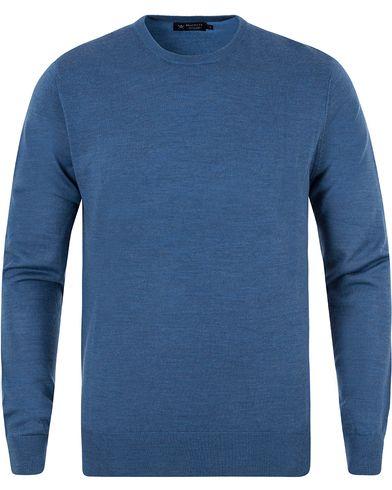 Hackett Merino Crew Neck Pullover Blue i gruppen Design A / Tröjor / Pullovers / Rundhalsade pullovers hos Care of Carl (13133111r)