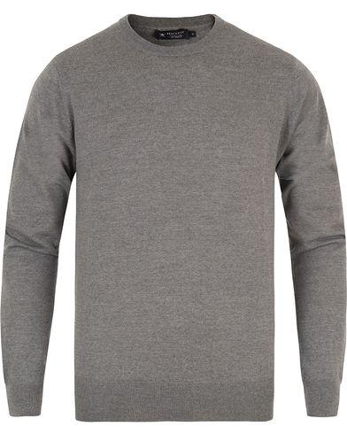 Hackett Merino Crew Neck Pullover Grey i gruppen Klær / Gensere / Pullover / Pullovere rund hals hos Care of Carl (13133211r)