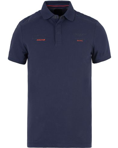 Hackett AMR Shoulder Pannel Polo Navy i gruppen Design B / Kläder / Pikéer / Kortärmade pikéer hos Care of Carl (13133711r)