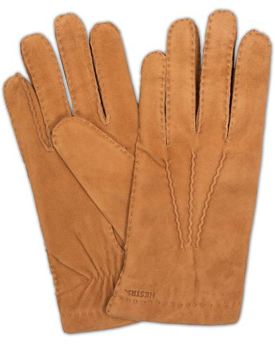 Hestra Arthur Wool Lined Suede Glove Cognac i gruppen Sesongens nøkkelplagg / Hanskene til spaserturen hos Care of Carl (13137911r)