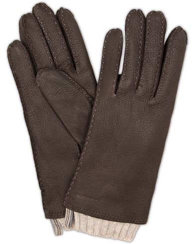 Hestra Tony Wool Lined Deerskin Glove Dark Brown i gruppen Säsongens nyckelplagg / Promenadhandskarna hos Care of Carl (13138011r)