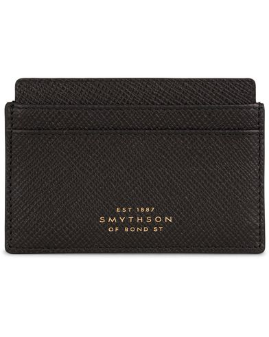 Smythson Panama Flat Card Holder Black Leather  i gruppen Accessoarer / Plånböcker / Korthållare hos Care of Carl (13138110)