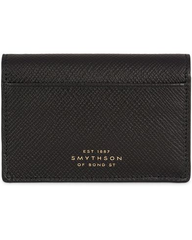 Smythson Panama Business Card Case Black Leather  i gruppen Assesoarer / Lommebøker / Kortholdere hos Care of Carl (13138410)
