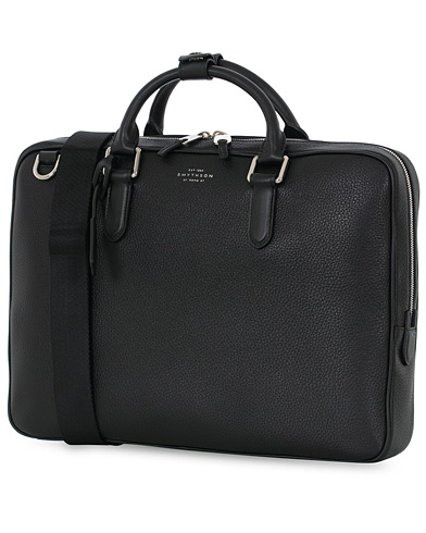 Smythson Burlington Slim Briefcase Black Deerskin  i gruppen V�skor / Portf�ljer hos Care of Carl (13138610)