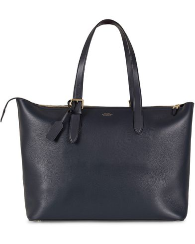 Smythson Burlington Buckle Tote Bag Navy Deerskin  i gruppen Vesker / Totebags hos Care of Carl (13138810)