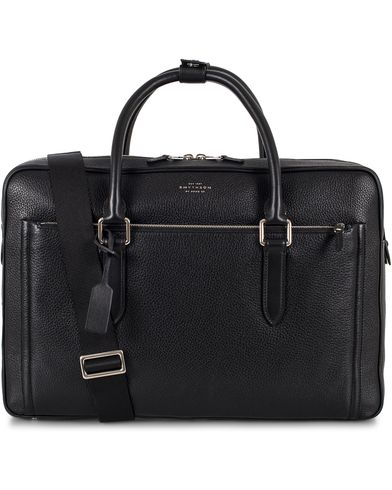 Smythson Burlington 24 Hour Bag Black Deerskin  i gruppen Vesker / Weekendbager hos Care of Carl (13139010)