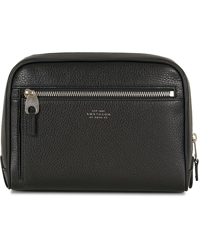 Smythson Burlington 1 Comp Washbag Black Deerskin  i gruppen Accessoarer / Väskor / Necessärer hos Care of Carl (13139110)