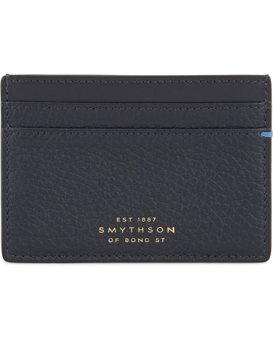 Smythson Burlington Flat Card Holder Navy Deerskin  i gruppen Assesoarer / Lommeb�ker hos Care of Carl (13139310)