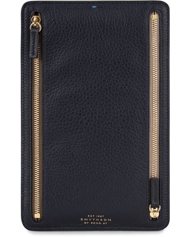 Smythson Burlington Zip Currency Case Navy Deerskin  i gruppen Assesoarer / Lommeb�ker hos Care of Carl (13140010)