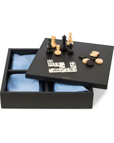 Smythson Grosvenor Triple Game Box Black  i gruppen Assesoarer / Livsstil / Spill og fritid hos Care of Carl (13140310)